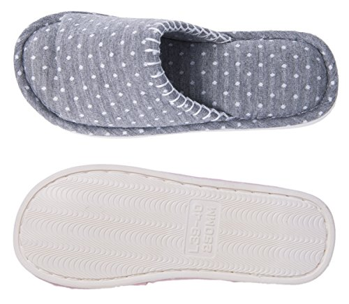 Pantofole Morbide Morbide Donne Festone Punta Aperta Leggera Accogliente Schiuma Di Memoria Slip On Home Casa Pantofole Scarpe Indoor Grigio Esterno