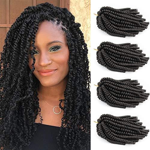 4Pcs Spring Twist 8 inch Nubian Twist Braiding Hair Crochet Braids Synthetic Hair Spring Twist Braiding Hair Extensions #1B