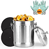 VDOMUS Premium Stainless Steel Compost Bin, Includes 2 Carbon Filters and Anti-Slip PVC Dots Garden GLoves,1.3 Gallon