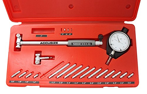 Accusize Tools - Dial Bore Gauge Set, 1.4-6' Measuring Range, 0.0005' Graduation Interval, EE20-1406