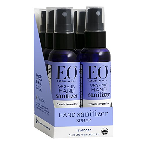 EO Hand Sanitizer Spray, Organic French Lavender, 2 Ounce (Pack of 6) Antibacterial Hand Sanitizing Spray