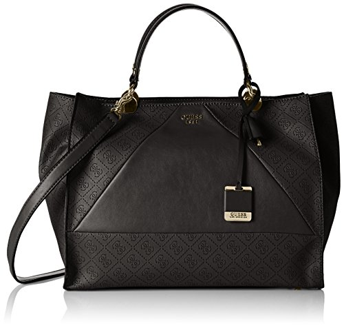Guess Cammie Large Satchel, Borsa a mano Donna Nero