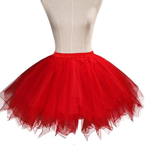 ONECHANCE Classique Couches Tulle Tutu Annes 50 Vintage Petticoat Jupe Ballet Bubble Party Jupe Rouge