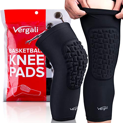 Vergali Basketball and Wrestling Knee Pads For Youth and Adult. Single Piece Padded Knee Sleeve Design Contours Around Knee To Protect Your Leg. Perfect Compression for Boys, Girls, Men, Women (Large)