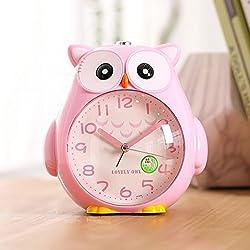 Cute owl alarm clock Colorful cartoon alarm clock Student alarm clock Animal alarm clock (Color : Pink)