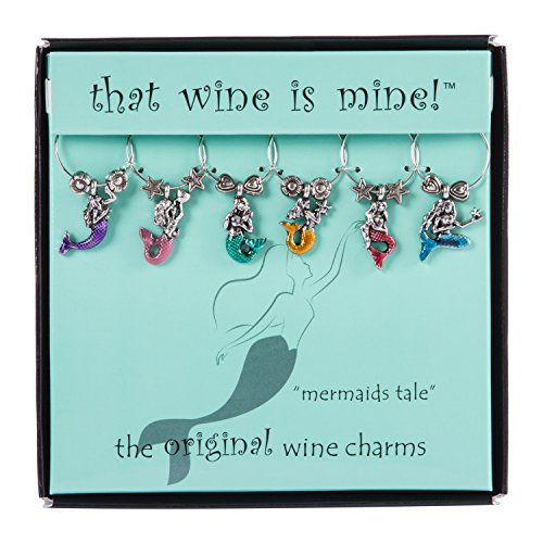 Mermaid's Tale Wine Charms Set of 6, Painted by Supreme Housewares