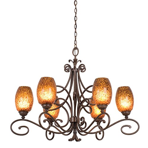 Kalco 5534AC/1350 Amelie - Six Light Chandelier, Glass Options: 1350: Waterfall d: 6.5 h: 5.25