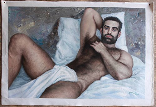 Original Oil Painting on Canvas Male Nude Oil Painting 100% Hand Painted Signed Unique Gay Art Sale Sexy Lying Men