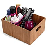 """MobileVision Bamboo Bathroom Bin Organizer for Toiletries, Make Up & Cosmetics, Brushes, Styling Tools & Products, Cleaning Supplies, Toilet Paper 14"""" x 11"""" x 6.5"""""""