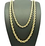 Jinao Jewelry Hip Hop Rapper's 5mm 24'', 6mm 30'' Rope Chain 2 Necklace Set Gold Tone