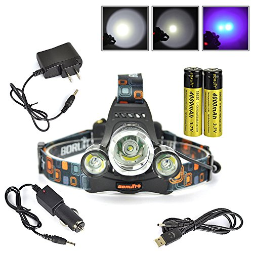 Boruit XML-T6 LED Headlamp Rechargeable for Camping, Running,Reading,Bicycle,Hunting,Fishing. with 2*18650 Rechargeable Batteries+Wall Charger+Car Charger+USB Data Cable