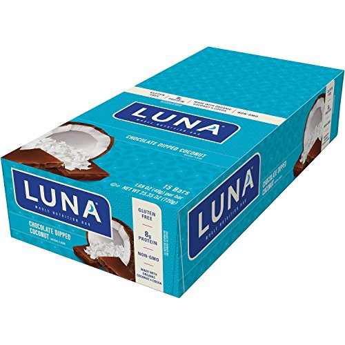 LUNA BAR - Gluten Free Bar - Chocolate Dipped Coconut - (1.69 Ounce Snack Bar, 15 Count)