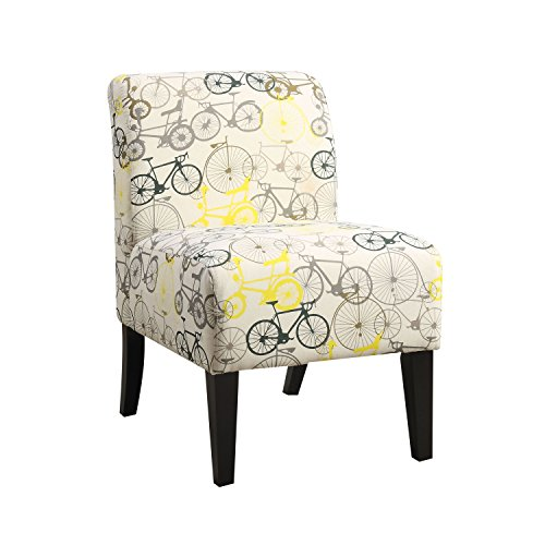 ACME Ollano Pattern Fabric Accent Chair (And Accent Chair Yellow Gray)
