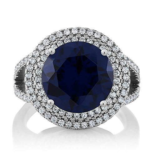 - Gem Stone King Sterling Silver Round Blue Simulated Sapphire Women's Ring (7.56 cttw Available 5,6,7,8,9) (Size 5)