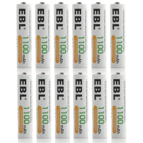 EBL 12 Pack 1100mAh AAA Ni-MH Rechargeable Batteries [Home Basic Series]