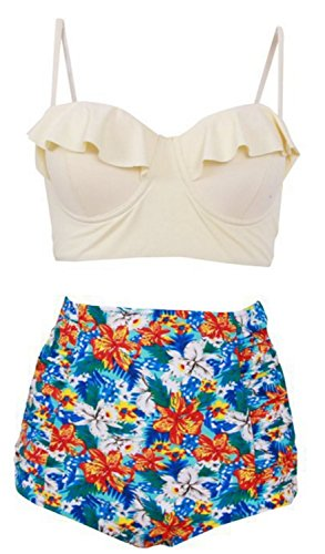 Traje de Baño Mujer YOGLY Traje de Baño de la Impresión Digital del Bikini de Talle Alto blanco 3