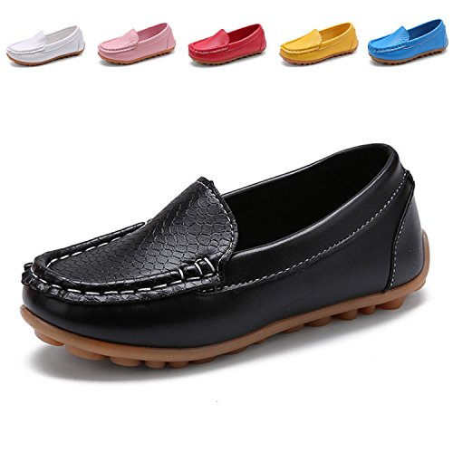 b3fd1f1da56 L-RUN Boy s Girl s Loafer Shoes Price Synthetic Leather Soft Sole Boat  Sneakers Black 3