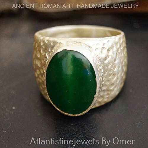 LARGE GREEN JADE MEN'S RING HAND FORGED BY OMER 925K STERLING SILVER by atlantisfinejewels