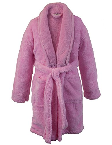 BC BARE COTTON Kids Microfiber Fleece Shawl Robe - Girls - Pink - - Embroidered Fleece Childrens