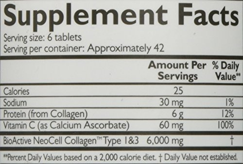 Neocell Super Collagen+C  Type 1 and 3, 6000mg plus Vitamin C, 250 Count