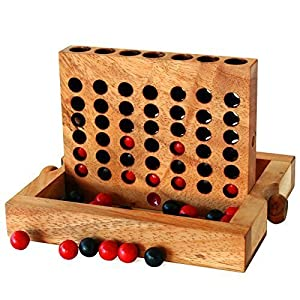 BRAIN GAMES Wooden Connect Four 7 Inch (Medium) - 51G8POr6MCL - BRAIN GAMES Wooden Connect Four 7 Inch (Medium)
