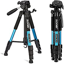 """ZOMEI 55"""" Compact Light Weight Travel Portable Folding SLR Camera Tripod for Canon Nikon Sony DSLR Camera Video with Carry Case(Blue)"""