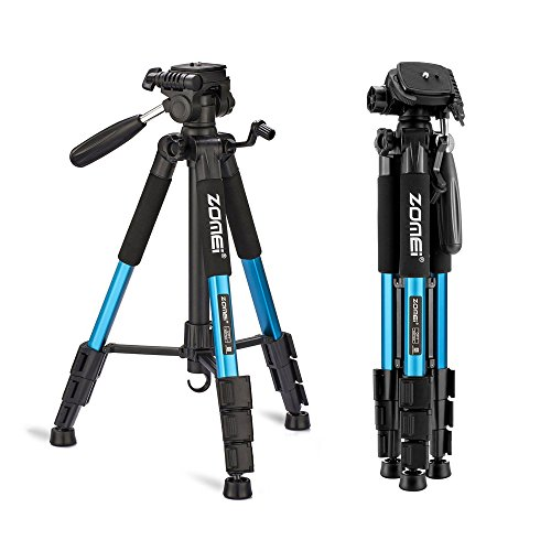 ZOMEI 55″ Compact Light Weight Travel Portable Folding SLR Camera Tripod for Canon Nikon Sony DSLR Camera Video with Carry Case(Blue)