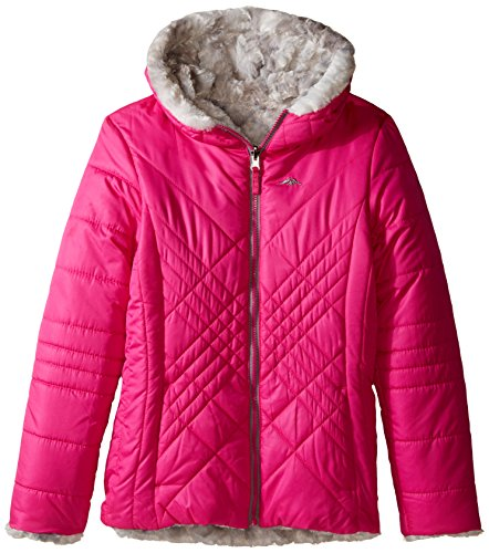 Price comparison product image Pacific Trail Big Girls' Reversible Quilted Jacket to Tye Die Faux Fur, Pink, 14
