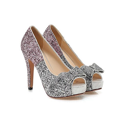 Allhqfashion Womens Peep Toe Pull-on Paillettes Colori Assortiti Sandali Con Tacco Alto Rosa