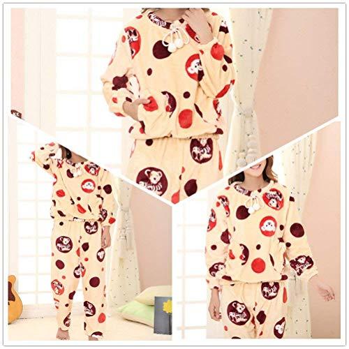Estampadas Cuello Cordón O Dos Con Yellow Trousers Ropa Manga Piezas Bear Pijamas Taille Caliente Camisas Mujer Bolsillos Patrón Elastische Larga zwSaq