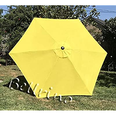 BELLRINO DECOR Replacement Yellow Strong & Thick Umbrella Canopy for 9ft 6 Ribs Yellow (Canopy Only) : Garden & Outdoor