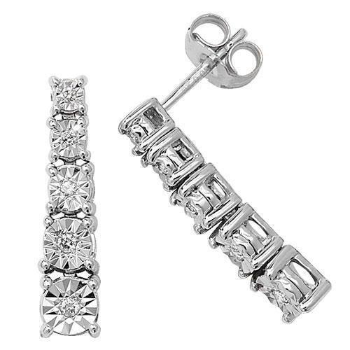 Illusion Diamant Boucles d'oreilles or blanc 9carats hpk10,10ct