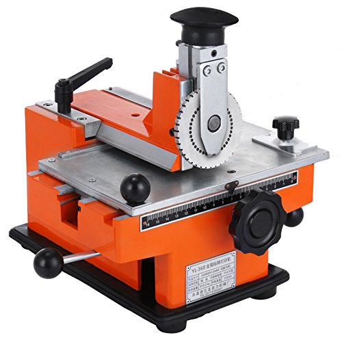 Happybuy Semi-automatic Sheet Embosser 2~4 Characters per Second Metal Embosser Working Plate 7.8″5.3″ Embossing Label Maker Machine with 4mm Aluminum Plate Metal Tag Plate Dog Tag Printer