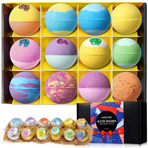 Bath Bombs Gift Set,12 Pcs Large Size Handmade Double-Layer Color Bath Bombs Set, Rich Bubble, Natural & Organic with Vegan Pure Essential Oils, Perfect Gifts for Kids, Women, Mom