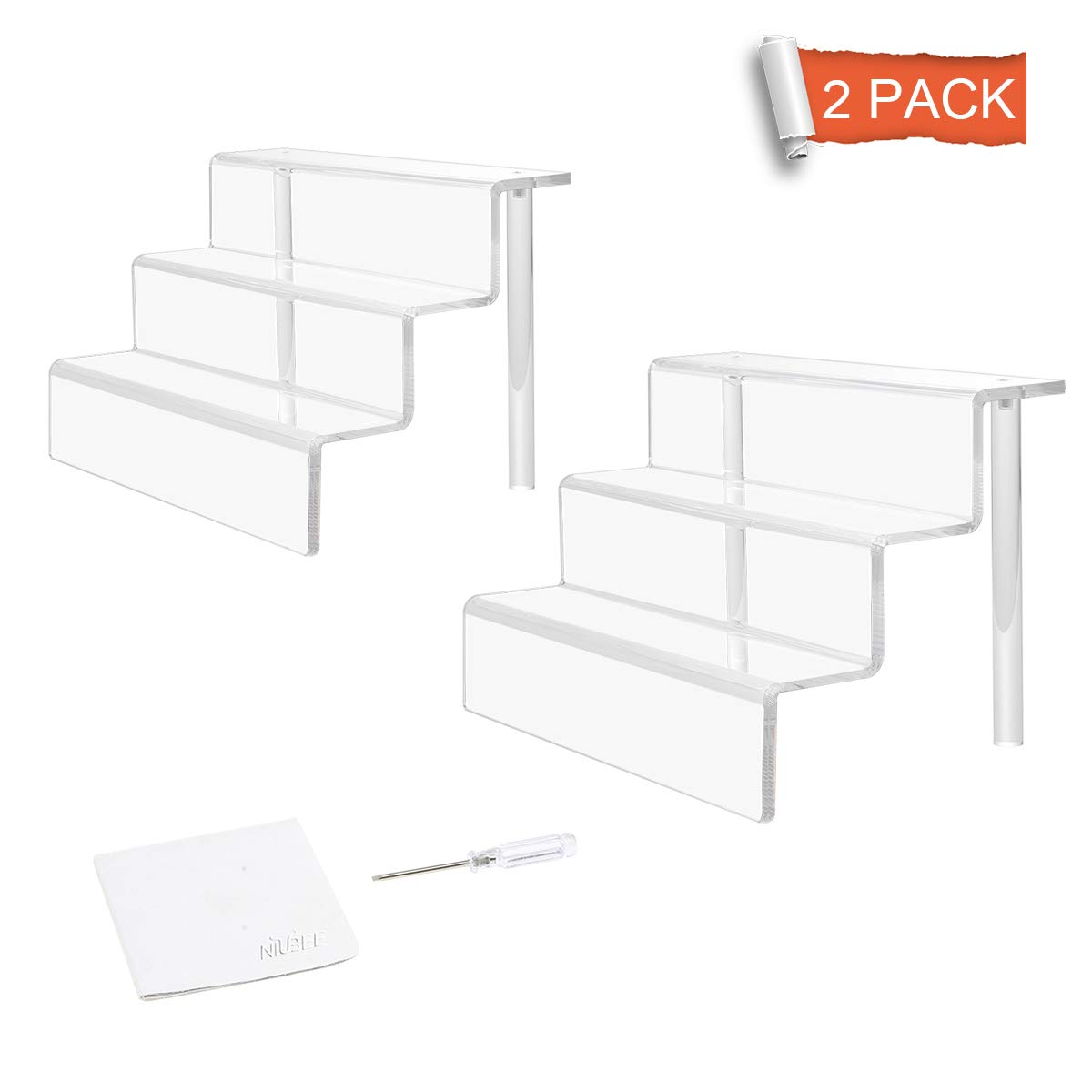 NIUBEE 2 Pack Acrylic Riser Display Shelf for Amiibo Funko POP Figures, Cupcakes Stand for Cabinet, Countertops, Table - 3-Tier, Clear (9×6) by NIUBEE