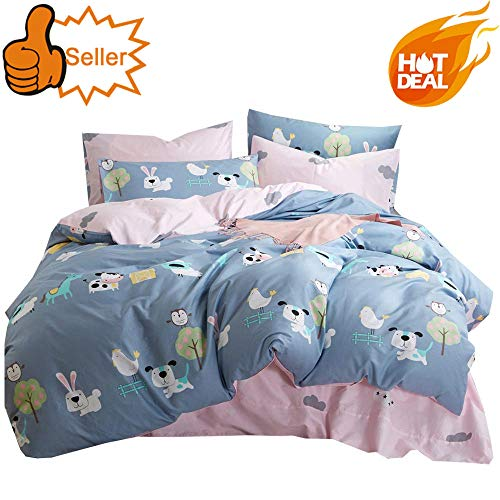 (OTOB Lightweight Cotton Duvet Cover Sets for Kids Teens Queen 3 Piece Reversible Cartoon Animal Dog Rabbit Birds Cow Sheep Horse Chicken Tree Home Textile Bedding Set Full with Pillow Shams, Queen)