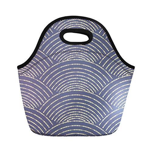 Semtomn Lunch Bags Blue Ethnic Abstract Geometrical of Scale Shaped Dotted Line Neoprene Lunch Bag Lunchbox Tote Bag Portable Picnic Bag Cooler Bag