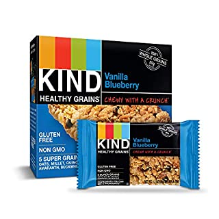 KIND Healthy Grains Bars, Vanilla Blueberry, Gluten Free, 1.2 oz, 5 Count (8 Pack)