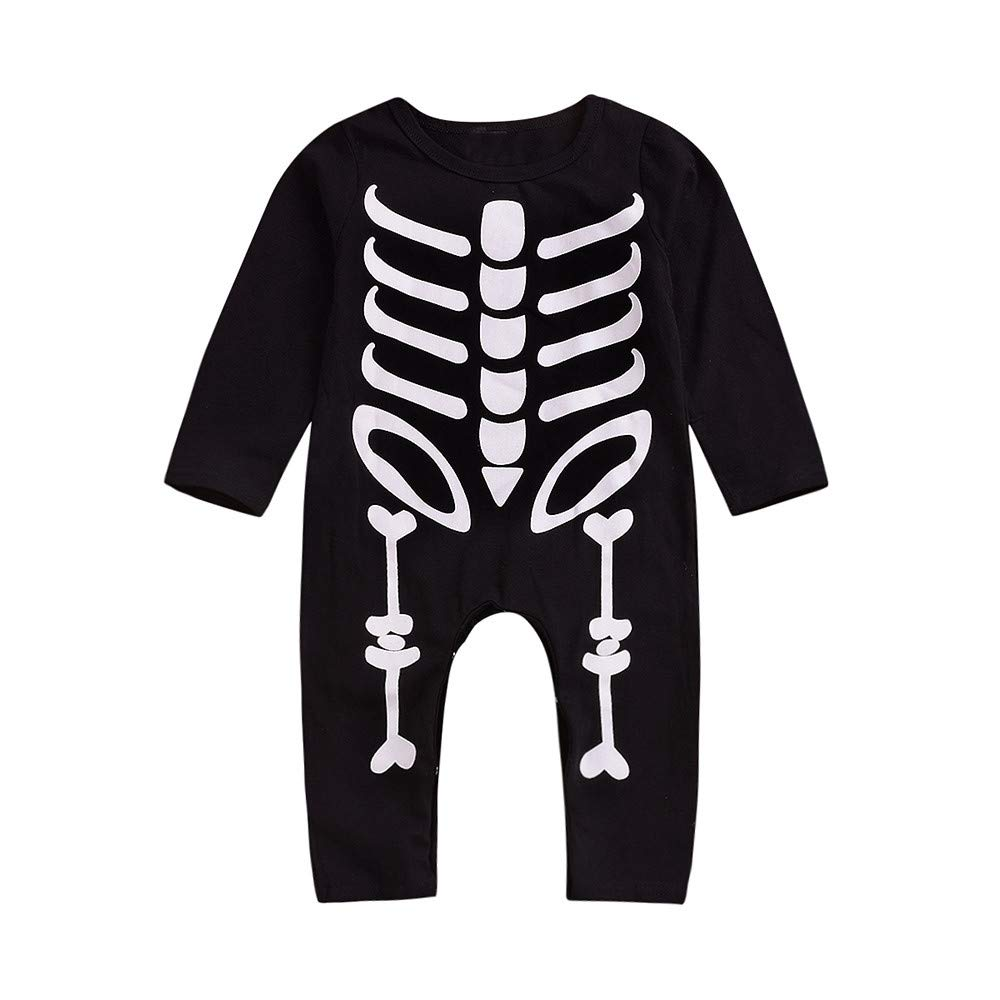 WARMSHOP Jumpsuit for Toddler Boys Girls Halloween Skull Print O-Neck Long Sleeve Romper Outfit Cloth
