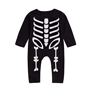 huge discount 3a1d3 88a5a togel Halloween Kleinkind Baby Long Sleeves Totenkopf Print ...
