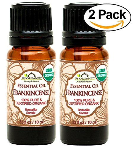 US Organic 100% Pure Frankincense Essential Oil - USDA Certified Organic - 10 ml Pack of 2, Improved caps and droppers, Use Topically or in Diffuser, Perfect for Aging Skin, Suitable for All Skin Type