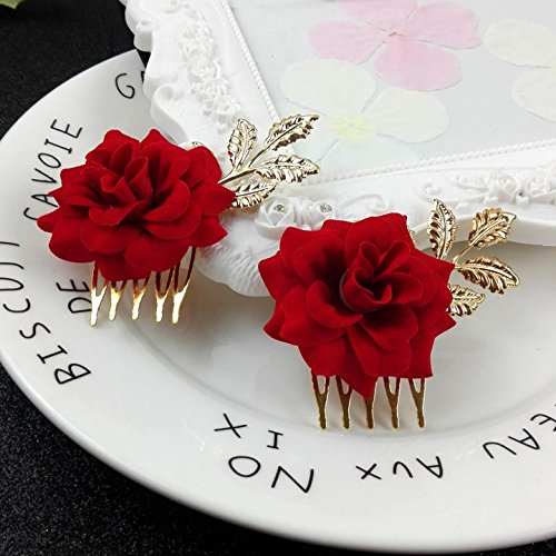 Flower head comb hair fork golden headdress red roses upscale bridal red leaf dish made hair ()