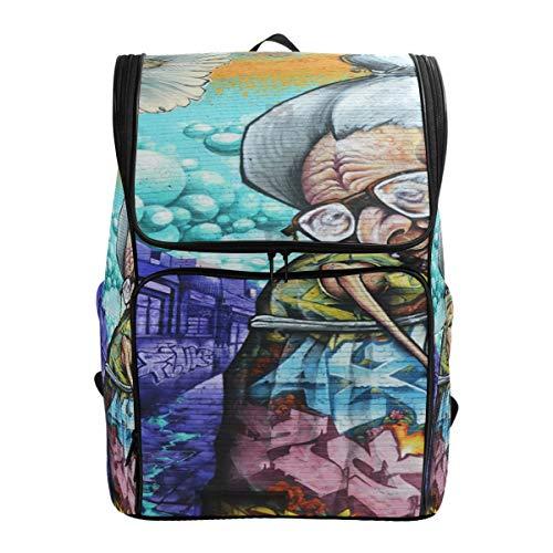 Travel Backpack Montreal Canada April 07_ Street Art Grandma 2014 in Gym Backpack for Women Big High School Bag]()