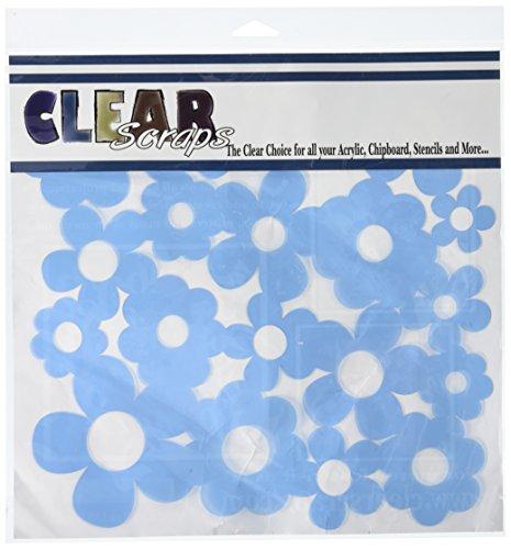 "Clear Scraps Flowers Stencils, 12 by 12"""