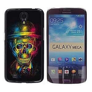 Samsung Galaxy Mega 6.3 , JackGot - Impreso colorido protector duro espalda Funda piel de Shell (Cráneo retro Caballero Teatro de Arte)