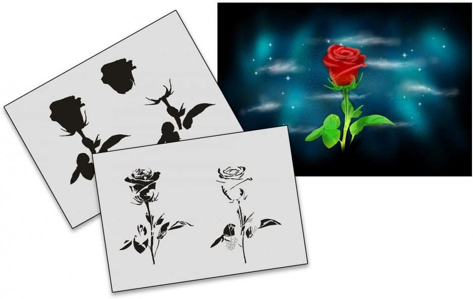Step by Step Airbrush Stencil AS-192 Rose ~ Stencils ~ UMR-Design