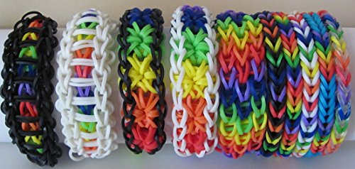 rainbow-loom-rubber-band-stretch-bracelet-lot-of-10-rainbow-colors-fishtail-starburst-ladder-styles