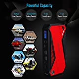 DBPOWER 600A Peak 18000mAh Portable Car Jump Starter (up to 6.5L Gas, 5.2L Diesel Engine) Battery Booster Phone Power Bank with Smart Charging Port, Compass & LCD Screen and LED Light (Red)