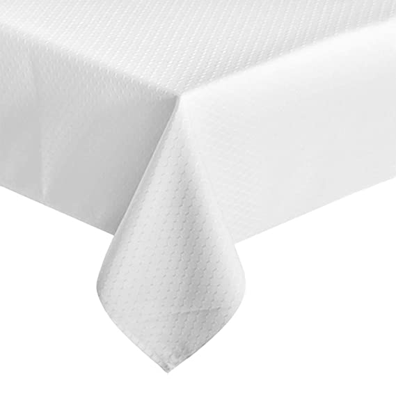 "ColorBird Elegant Waffle Jacquard Tablecloth Waterproof Table Cover for Kitchen Dinning Tabletop Decor (Rectangle/Oblong, 60"" x 102"", White)"