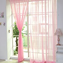 TR.OD Window Curtain Bright Candy Color Floral Voile Curtain Beautiful House Decor Door Window Curtain Panel Sheer Valances Scarf Pink